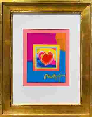 """Peter Max Mixed Media Acrylic on Paper """"Heart"""""""