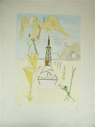 Salvador Dali Hommage to Leonardo da Vinci Hand Signed