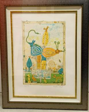 "BERNARD BERTHOIS-RIGAL Original Lithograph ""Mystical"
