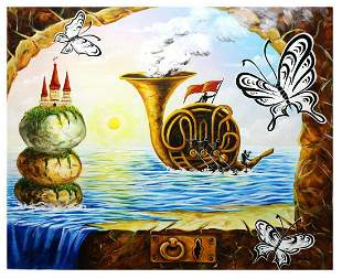 "Eugene Poliarush- Original Oil on Canvas ""Musical Boat"""
