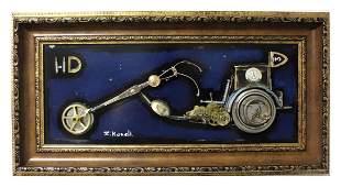 "Zaza Koreli- Original Collage on Wood Panel ""Vintage"