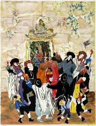 "Judith Yellin- Original Serigraph ""Simha Torah at the"
