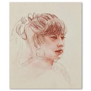 "Charles Lynn Bragg, ""Lisa"" Original Conte Drawing, Hand"