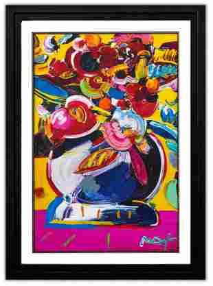 "Peter Max- Original Mixed Media ""Flower Vase"""