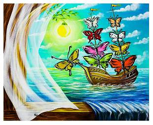 "Eugene Poliarush- Original Oil on Canvas ""Sailboat to"