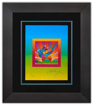 """Peter Max- Original Lithograph """"Cosmic Flyer with Sun"""