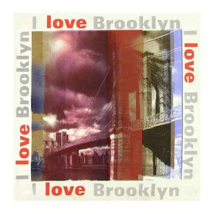 "Steve Kaufman (1960-2010) ""I Love Brooklyn"" Hand Pulled"