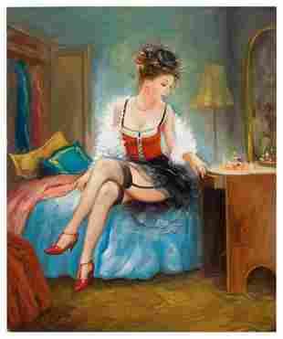 "Taras Sidan- Original Giclee on Canvas ""Mademoiselle"""