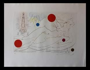 "Salvador Dali- Original Etching with color ""Water"