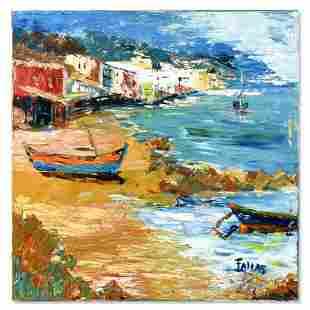"Elliot Fallas, ""Fishing Boat"" Original Oil Painting on"