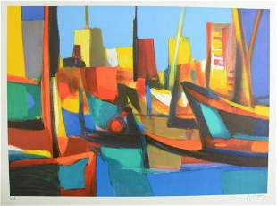 """Marcel Mouly Lithograph on paper """"Port"""""""