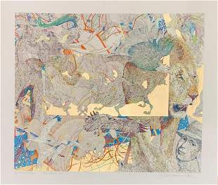Guillaume Azoulay Mixed media limited edition with gold