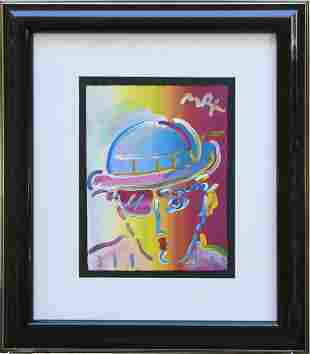 "Peter Max Acrylic on paper Mixed Media ""Zero Man"""