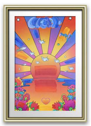 """Peter Max Acrylic Mixed Media on Paper """"Sunrise"""""""