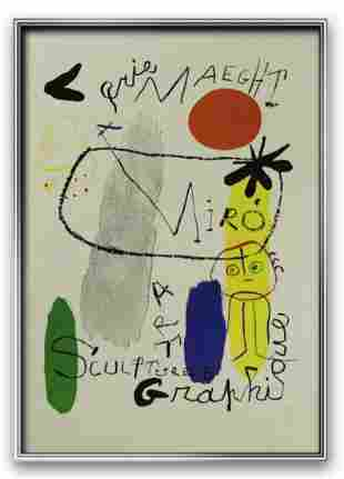 Joan Miro Galerie Maeght Exhibition lithograph Plate