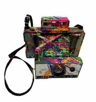 E.M. Zax Vintage Polaroid camera Hand painted
