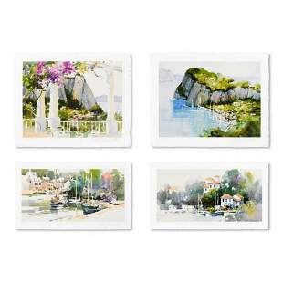 """Marilyn Simandle, """"Exotic Ports (Set of 4)"""" Limited"""