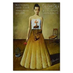 "Rafal Olbinski, ""National Arts Club"" Hand signed Offset"