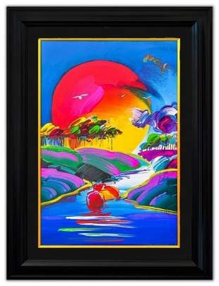 """Peter Max- Original Mixed Media """"Without Borders"""""""