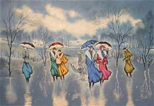 "Zina Roitman- Original Serigraph ""Rainy Day"""