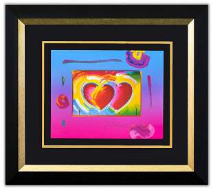 """Peter Max- Original Lithograph """"Two Hearts on Blends"""""""