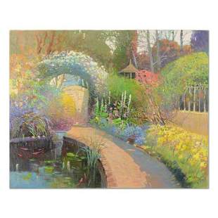 "Ming Feng, ""Koi Pond Garden"" Original Oil Painting on"