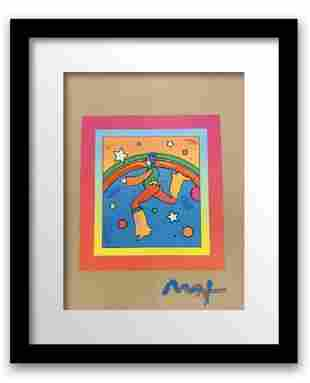 """Peter Max Mixed Media Acrylic over Lithography """"Cosmic"""
