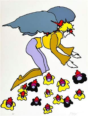 """Peter Max Serigraph on paper """"Flowering Lady"""""""