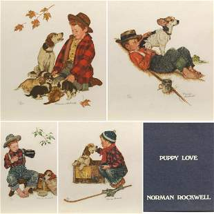 """Norman Rockwell Lithographs on paper """"Puppy Love"""""""