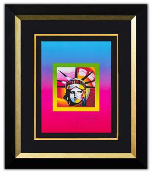 "Peter Max- Original Lithograph ""Liberty Head on Blends"