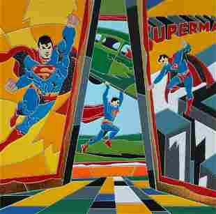 "Ugo Nespolo- Silk Screen Serigraph ""From Super Heroes"""