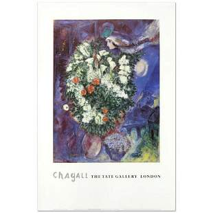 """Marc Chagall (1887-1985), """"Bouquet with Flying Lover"""""""