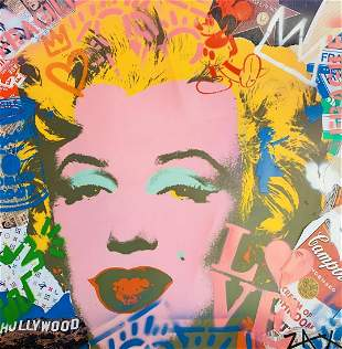 E.M. Zax Mixed media collage and stencil on paper - one