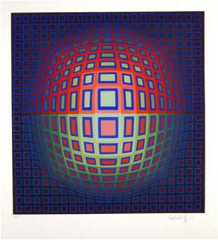 "Victor Vasarely- Original Serigraph ""Blue Composition"""