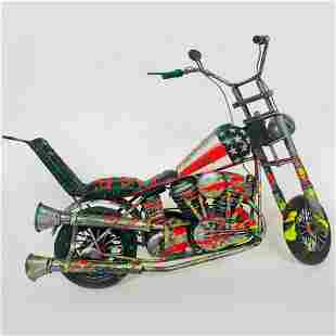 """E.M. Zax- Hand Painted metal sculpture """"Harley"""