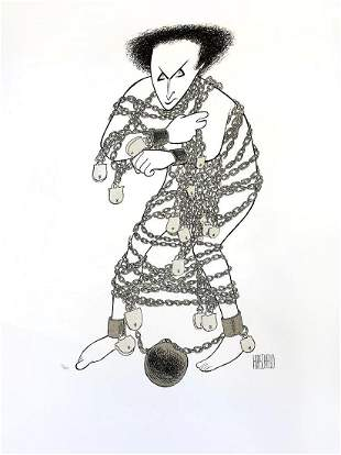 "Al Hirschfeld- Original Lithograph on Paper ""Houdini"""
