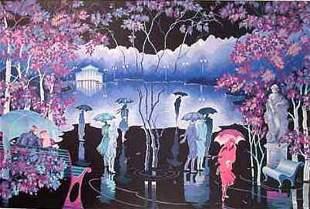 """Zina Roitman- Original Serigraph """"Rainy Night"""""""