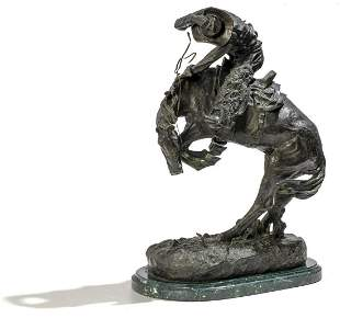 """Frederic Remington Bronze on marble base """"The"""