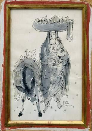 Reuven Rubin Original one of a kind watercolor painting