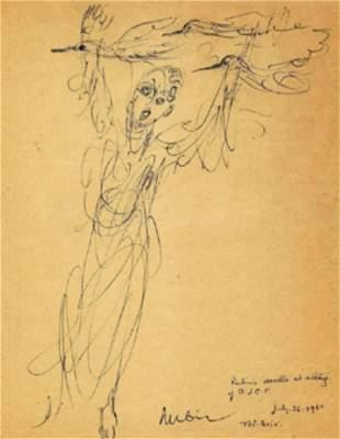 Rubin, Reuven 1960 INK SKETCH ON PAPER