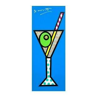 """Romero Britto """"Blue Martini"""" Hand Signed Limited"""