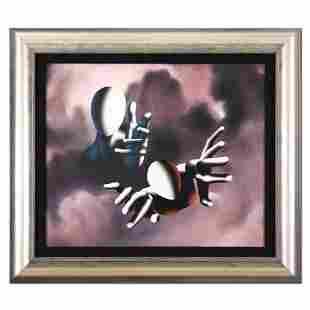 """Mark Kostabi, """"Sending the Son"""" Framed Original Mixed"""