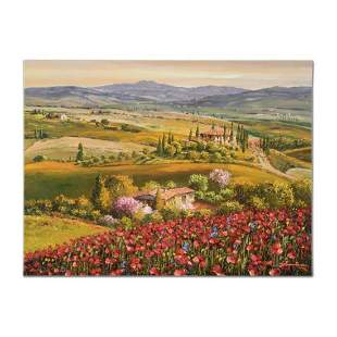 """Sam Park, """"Tuscany Red Poppies"""" Hand Embellished"""