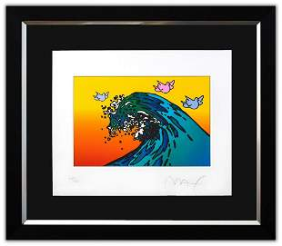 """Peter Max- Original Lithograph """"THE GREAT WAVE with"""