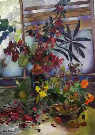 """Zina Roitman- Original Oil on Canvas """"Vase with"""