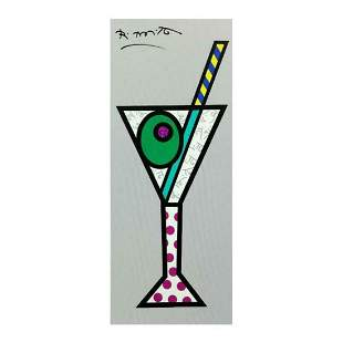 """Romero Britto """"Silver Martini"""" Hand Signed Limited"""