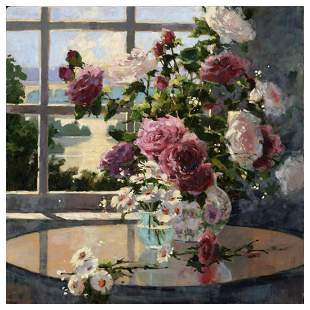 "Marilyn Simandle, ""Morning Roses"" Hand Embellished"