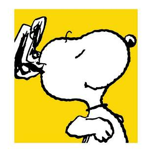 """Peanuts, """"Snoopy: Yellow"""" Hand Numbered Canvas"""