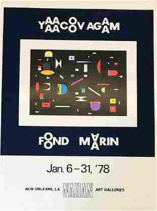 YAACOV Agam Vintage original exhibition lithograph