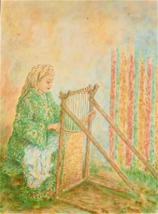Itzhak Tordjman Pastel paint over lithograph on paper